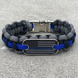 Black and Charcoal Thin Blue Line