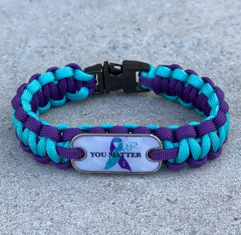 Suicide Awareness Bracelet with gunmetal buckle