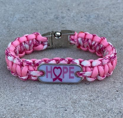 Breast Cancer Awareness Bracelet with Chrome Buckle